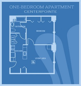 1 Bedroom floor plan for CenterPointe Apartments in New Haven, CT