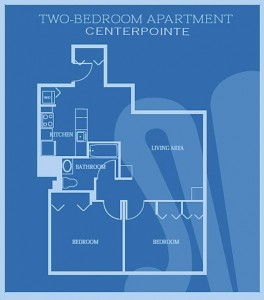 2 Bedroom floor plan for CenterPointe Apartments in New Haven, CT