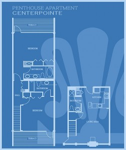CenterPoint: Penthouse (2 Bedroom) Floor Plan - Floor plans are unique and may vary. Dimensions are approximate.