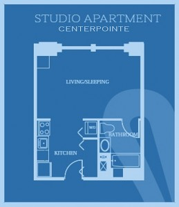 CenterPointe: Studio Floor Plan - Floor plans are unique and may vary. Dimensions are approximate.