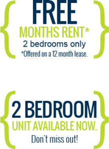 Free months rent for 2 bedrooms only (offered on a 12 month lease). Plus 2 Bedroom units available now. Don't miss out!