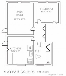 Mayfair: 1 Bedroom Floor Plan - Floor plans are unique and may vary. Dimensions are approximate.