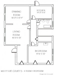 Mayfair: 1 Bedroom with Separate Dining Room Floor Plan - Floor plans are unique and may vary. Dimensions are approximate.