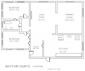 Mayfair: 2 Bedroom with Fireplace Floor Plan - Floor plans are unique and may vary. Dimensions are approximate.