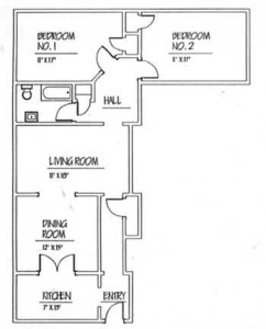 Traymore: 2 Bedroom Floor Plan - Floor plans are unique and may vary. Dimensions are approximate.