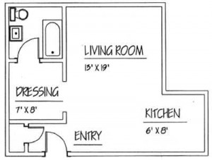 Traymore: Studio Floor Plan - Floor plans are unique and may vary. Dimensions are approximate.